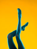 Female legs in blue stockings Stock Photos