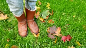 Female legs in boots against a background of green grass and fallen leaves stock video footage