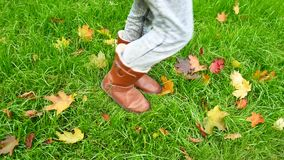 Female legs in boots against a background of green grass and fallen leaves stock video