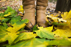 Female legs in boots close-up among the fallen leaves. Royalty Free Stock Image