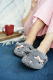 Female legs in cute slippers Stock Image