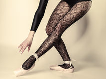 Female legs dancer in ballet shoes Stock Photography