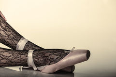 Female legs dancer in ballet shoes Stock Photo
