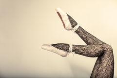 Female legs dancer in ballet shoes Royalty Free Stock Photos