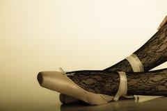Female legs dancer in ballet shoes Stock Photo