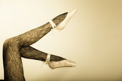 Female Legs Dancer In Ballet Shoes Royalty Free Stock Images