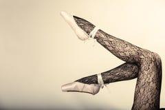 Female Legs Dancer In Ballet Shoes Stock Photos