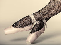 Female Legs Dancer In Ballet Shoes Royalty Free Stock Photography