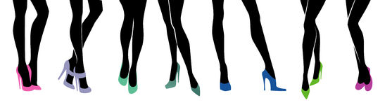 Female legs with different shoes. Vector illustration of Female legs with different shoes Stock Photos
