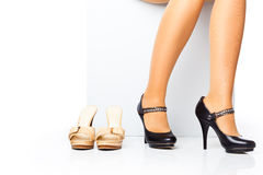Female legs in fashion shoes Stock Images