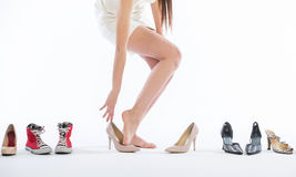 Female legs in fashion shoes Royalty Free Stock Photos