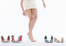 Female legs in fashion shoes Stock Photography