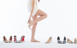 Female legs in fashion shoes Royalty Free Stock Images