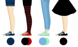 Female legs with gumshoes assortment Royalty Free Stock Images