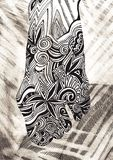 Female legs. Hand-drawn, sea waves. Drowning woman. Ethnic, retro, doodle, zentangle, tribal design element. Female legs. Hand-drawn, sea waves. Drowning woman royalty free stock photos