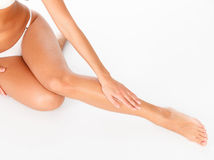 Female legs and hands Royalty Free Stock Image