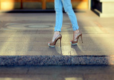 Female legs in heels.  Stock Images