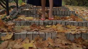 Female legs in heels stepping downstairs in autumn stock video footage