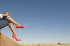 Female legs in high heel shoes sitting relaxed in nature. Attractive crosslegged Female legs wearing sexy colourful pink high heel shoes sitting relaxed outdoor Royalty Free Stock Image