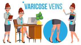 Female Legs In High Heel Shoes With Varicose Veins Vector. Isolated Cartoon Illustration. Female Legs In High Heel Shoes With Varicose Veins Vector. Isolated stock illustration