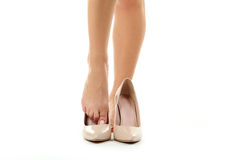 Female legs in high-heeled shoes Royalty Free Stock Image