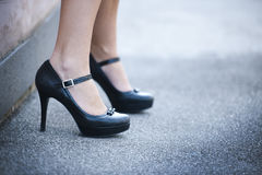 Female legs and high heels shoes Royalty Free Stock Images