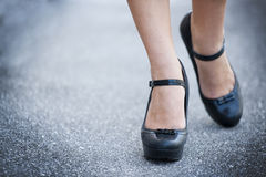Female legs and high heels shoes. Woman wearing high heels shoes Royalty Free Stock Images