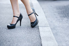 Female legs and high heels shoes Royalty Free Stock Photo