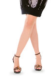 Female legs in high shoes over white Royalty Free Stock Photography