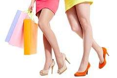Legs of shoppers Stock Image