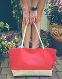 Female legs and red bag Stock Images
