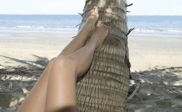 Female legs resting coconut tree on tropical beach Stock Photo
