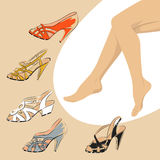 Female legs with retro shoes. Fashion style Royalty Free Stock Photography