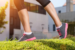 Female legs running, the outdoors, detail photo Royalty Free Stock Photography