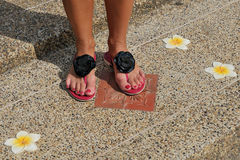 Female legs in sandals with flowers Stock Images