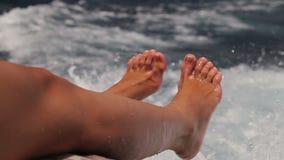 Female Legs on Sea stock footage