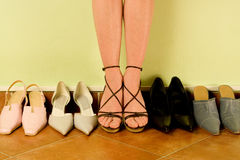 Female legs and shoes. In line Royalty Free Stock Image