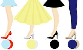 Female legs with shoes assortment Royalty Free Stock Photo