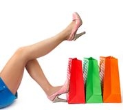 Female legs with shopping bags Royalty Free Stock Photography
