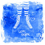 Female legs in skates on a watercolor background Stock Image