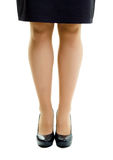 Female legs in skirt and high heels. isolated Royalty Free Stock Photo