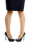 Female legs in skirt and high heels. isolated Royalty Free Stock Photos