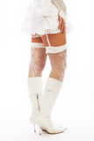Female legs in stockings and white boots. Royalty Free Stock Photos