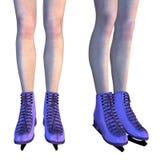 Female Legs in Violet Ice Skates Royalty Free Stock Image