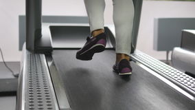Female legs walking and running on treadmill in gym. Young woman exercising during cardio workout. Feet of girls in Stock Photos