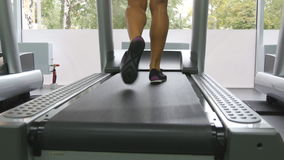 Female legs walking on treadmill in gym. Young woman exercising during cardio workout. Feet of girls in sport shoes. Training indoor at sport club. Close up stock video