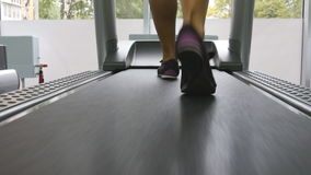 Female legs walking on treadmill in gym. Young woman exercising during cardio workout. Feet of girls in sport shoes. Training indoor at sport club. Close up stock video footage