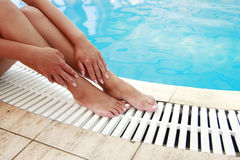 Female legs in the water pool Royalty Free Stock Image