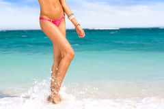 Female legs in waves Royalty Free Stock Photos