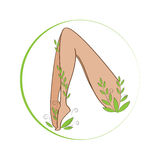 Female legs winded with stylized plant. Organic feet cosmetics symbol. Female legs health sign. Royalty Free Stock Photos